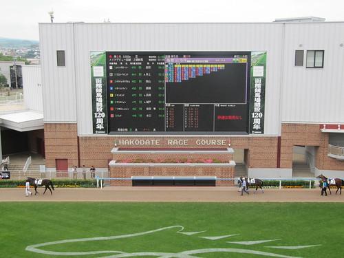 函館競馬場のパドックビジョン
