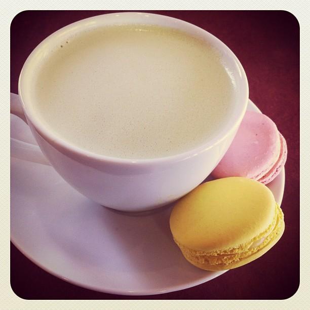 Green Tea Latte and macarons @ Satura Cakes in Los Altos