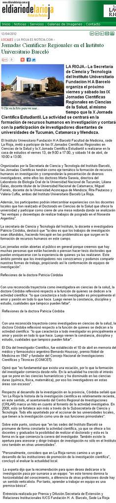 El diario de la Rioja - Jornadas Científicas Regionales en Fundación Barceló