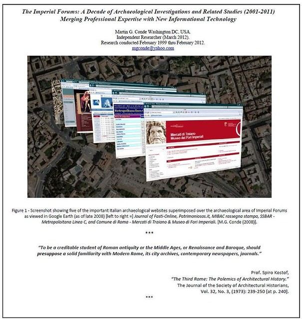 Rome - The Imperial Forums: A Decade of Archaeological Investigations and Related Studies (2001-2011) -  Merging Professional Expertise with New Informational Technology.