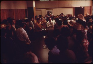 Governor of Mexican state of Baja California, Milton Castellanos, meets with Mexican cotton farmers in Mexicali Mexico on the agenda: poor quality of Colorado River water, a factor in the poor cotton crop, May 1972