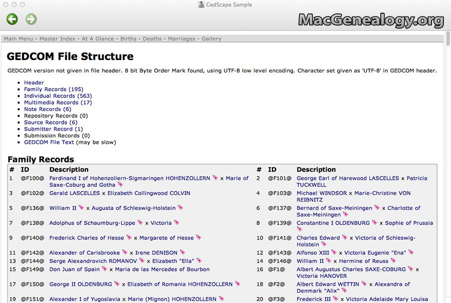 Mac Genealogy Software - GedScape GEDCOM File Structure