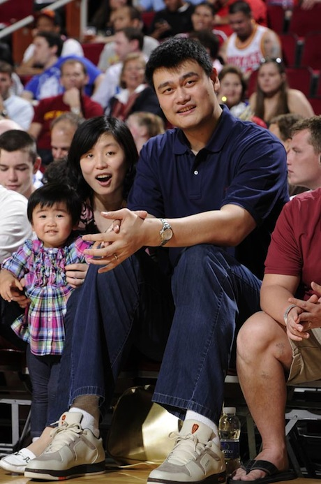 March 24th, 2012 - Yao Ming and his family attend the Houston Rockets-Dallas Mavericks game