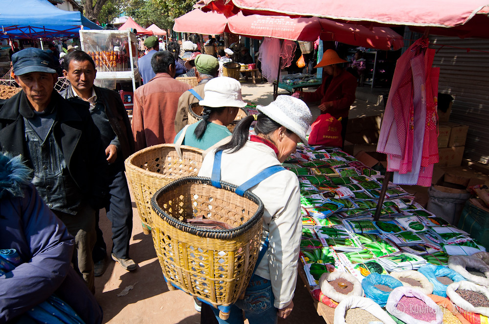 Shopping with the baskets in Shaxi Market