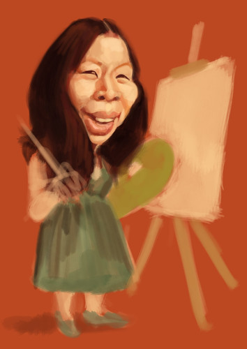 flower painter Joann Durst caricature - 1