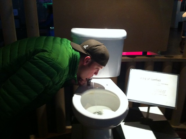 Exploratorium - drinking from a toilet