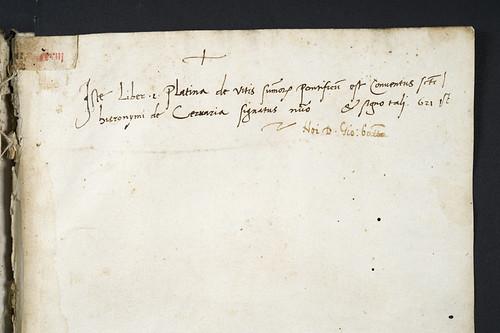 Ownership inscriptions in Platina, Bartholomaeus: Vitae pontificum