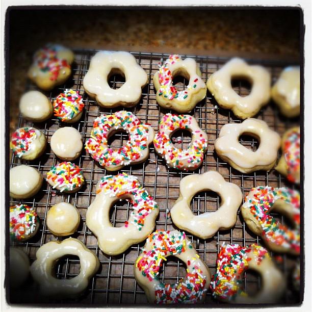 Homemade baked doughnuts.
