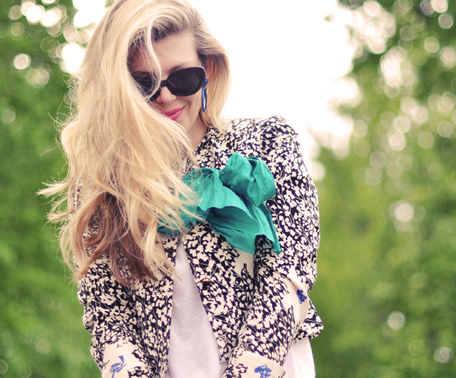floral print jacket  with silk  scarf bow
