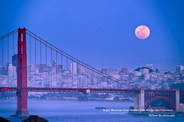 Super Moonrise Over Golden Gate Bridge San Francisco May 5 2012