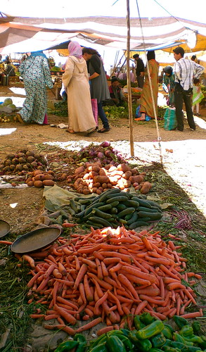A typical display of produce at the Wednesday souq of Ain Leuh