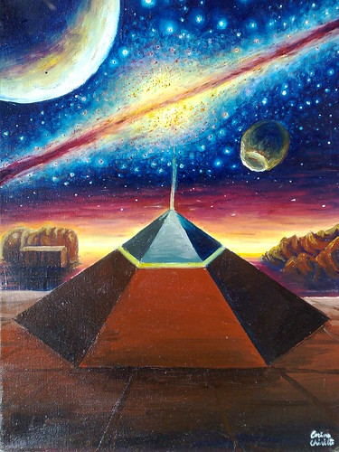 The Cydonia D&M pyramid the face on Mars and the milky way oil on canvas painting - Piramida pentagonala din zona Cydonia sfinxul de pe Marte si Calea lactee pictura ulei pe panza