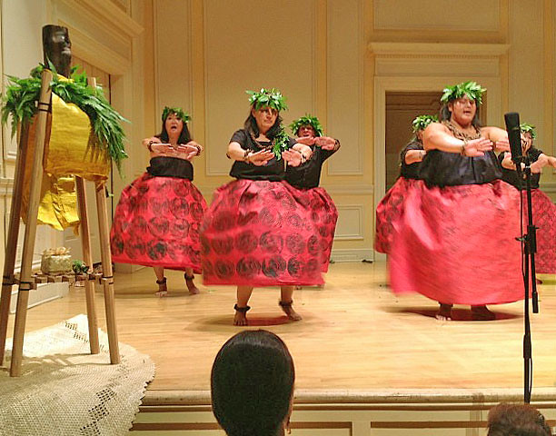 <p>Hawaii Community College's hula halau Unukupukupu performs at the Library of Congress on July 26.</p>