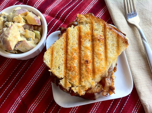 French Onion Grilled Cheese Sandwich Overhead