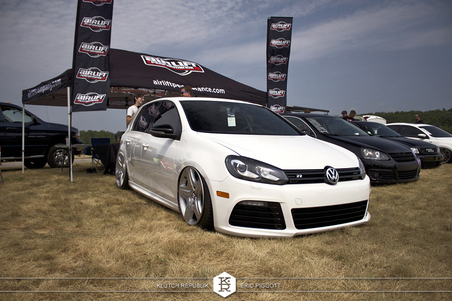 white mk6 vw golf gti golf R 2.0t awd Bentley wheels  at euro hanger 2012 Michigan 3pc wheels static airride low slammed coilovers stance stanced hellaflush poke tuck negative postive camber fitment fitted tire stretch laid out hard parked seen on klutch republik