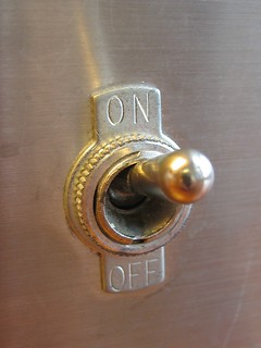 a switch with an off and an on position