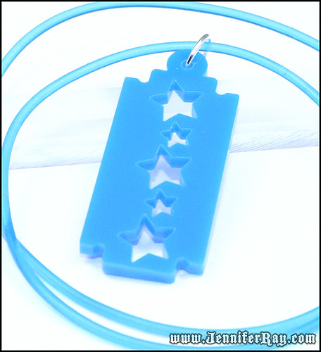 Blue Star Razor Blade Lasercut Acrylic Necklace by JenniferRay.com