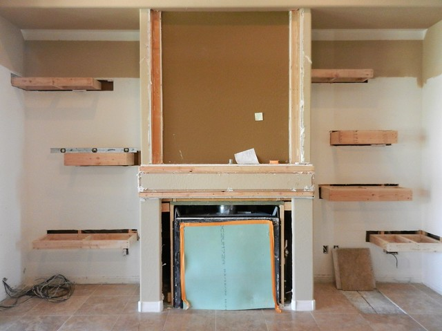 initial fabrication for the floating shelves at the living room fireplace flickr photo sharing. Black Bedroom Furniture Sets. Home Design Ideas