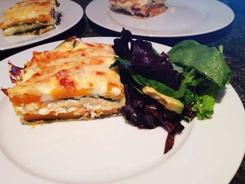 Pumpking & spinach lasagne