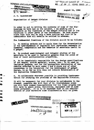 Organization of Gadget Division August 14 1944