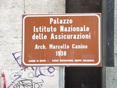 Photo of Palazzo Istituto Nazionale delle Assicurazioni and Marcello Canino brown plaque