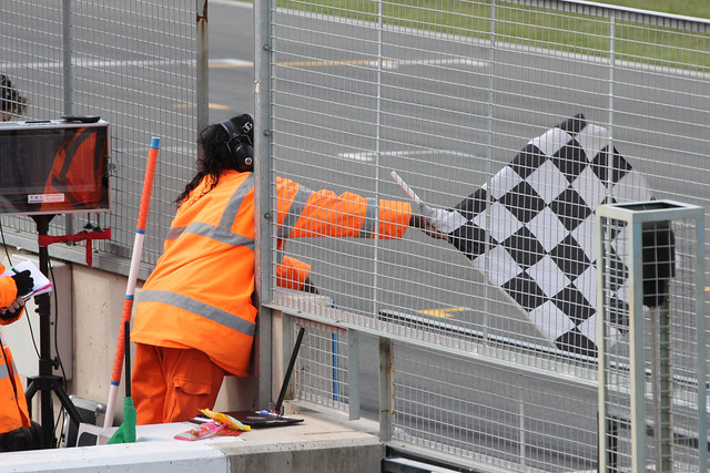 The chequered flag in the second BTCC race at Donington Park in April 2012