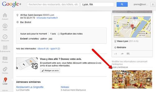 Google Place - vue intérieure