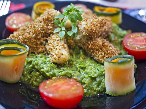 Fish Fingers with Wasabi pea Purée