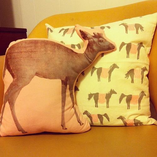 Deer and ponies.