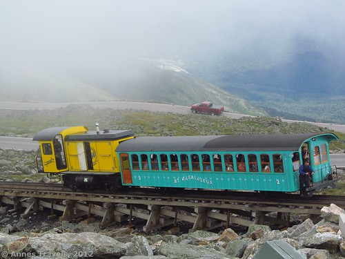 A Cog Railway train arrives at the summit of Mount Washington, White Mountain National Forest, New Hampshire