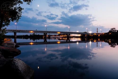 bridge sunset wet water silhouette clouds river mississippi landscape lights evening still rocks flickr dusk peaceful calm boulders granite facebook stcloud