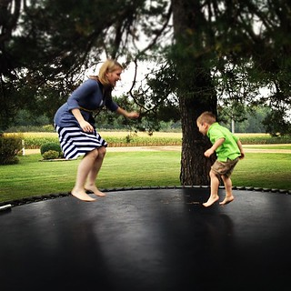 Minutes of feeling like a kid again . . . With my kid. #trampoline #jumping #instafun