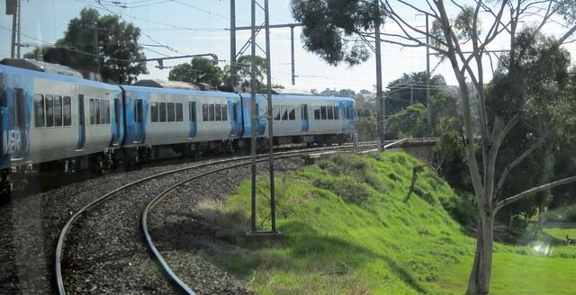 Train on the South Morang line near Rushall