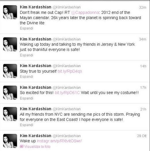 Kim Kardashian on Sandy Hurricane