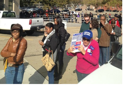 people standing in line in Cincinatti to vote