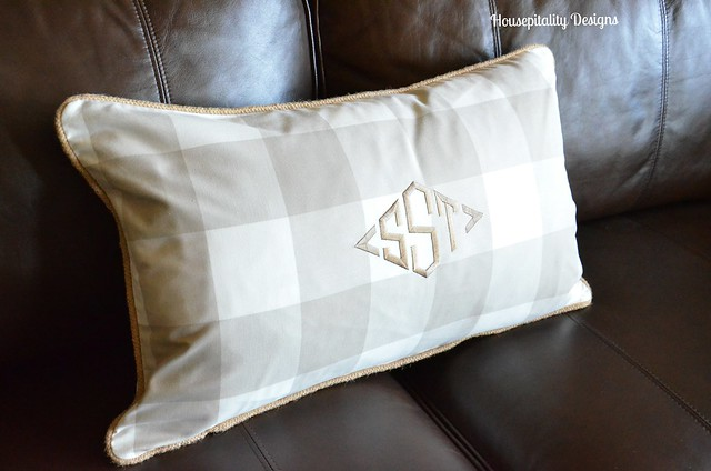 Media Room Monogrammed pillow