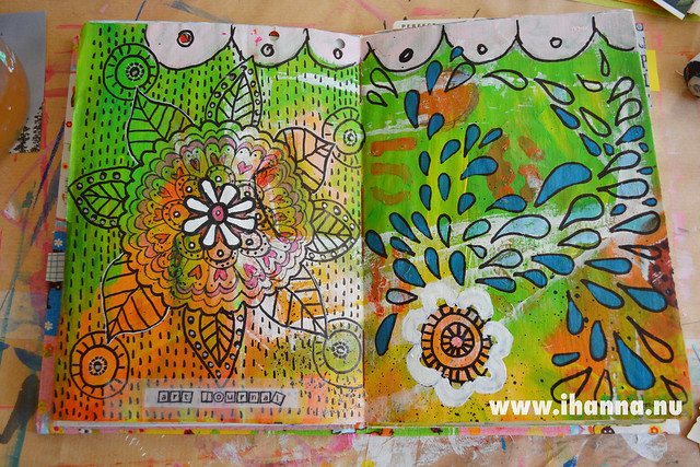 Art Journal Spread: Doodles on acrylics