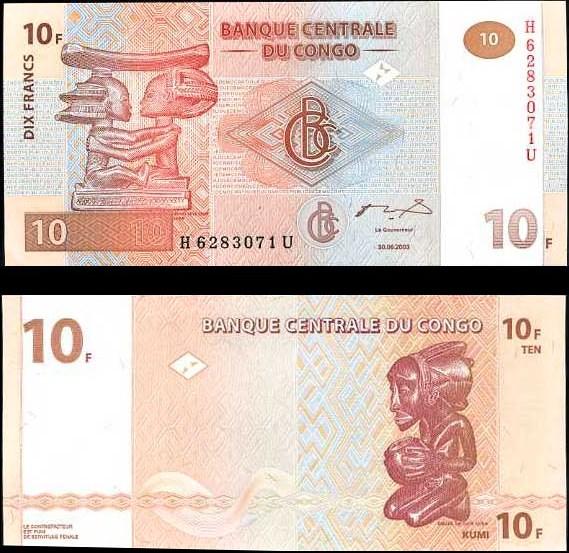 10 Frankov Kongo Dem.Rep. 2003, Pick 93