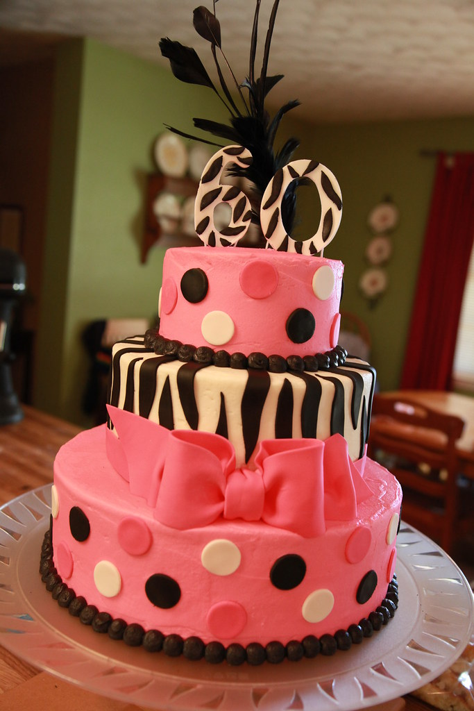 Zebra Hot Pink 60th Birthday Cake