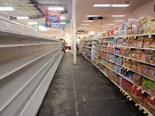 Empty shelves at a grocery store