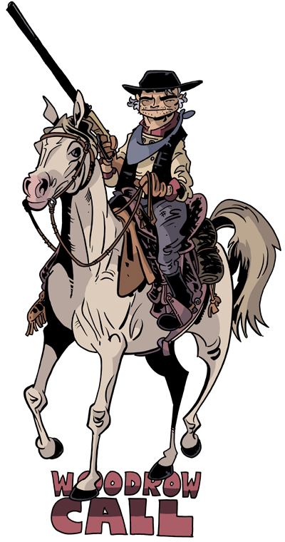 A drawing/illustration of Captain Woodrow Call, from the novel LONESOME DOVE by Larry McMurty; art by Chris Schweizer