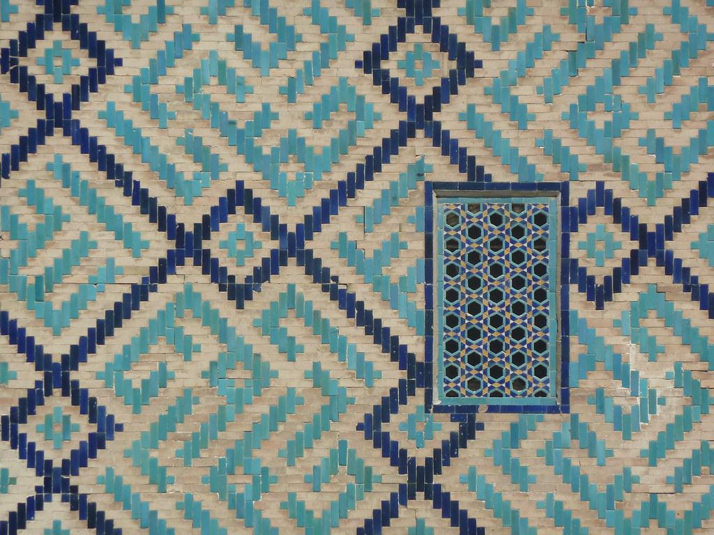Detall de la madrassa Sher Dor al Registan, Samarcanda (Uzbekistan)