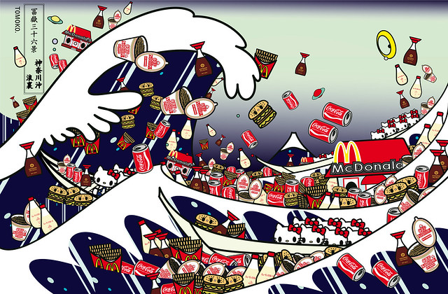 hokusai-The Great Wave of Kanagawa with mc, cupnoodle, kewpie,  kikkoman and kitty