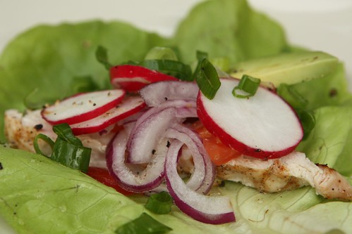 Grilled Chicken Lettuce Wrap with Avocado, Radish, Red Onion, Tomato, and Scallions