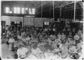 Group showing a few of the workers stringing beans in the J.S. Farrand Packing Co. Those too small to work are held on laps of workers or stowed away on boxes, June 1909