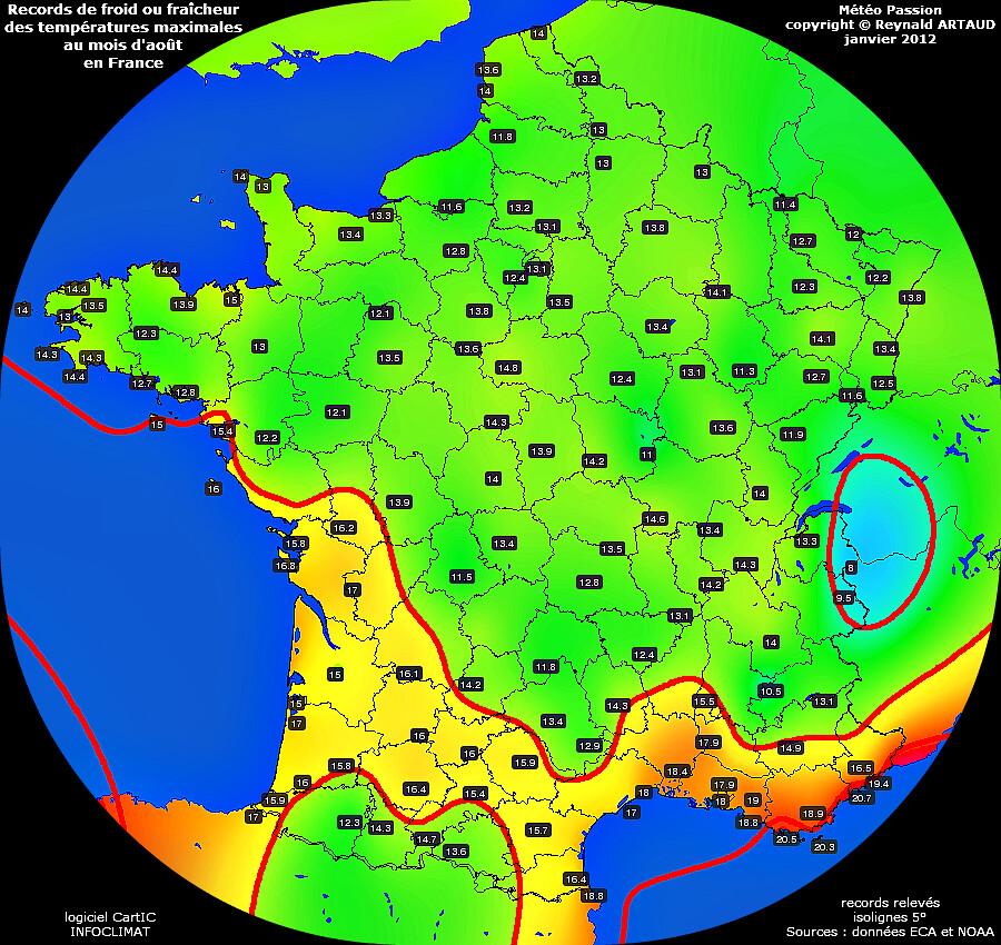 records de fraîcheur ou de froid des températures maximales au mois d'août en France Reynald ARTAUD météopassion