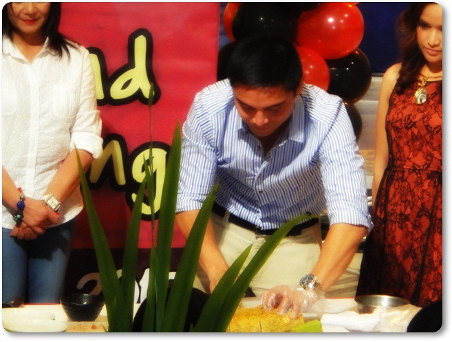 Chef Marvin Agustin ceremonial slicing