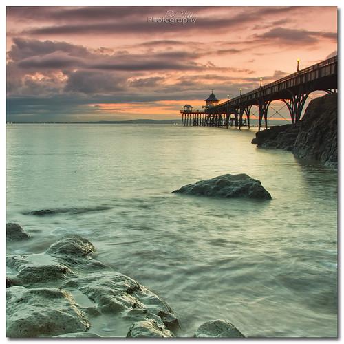 sunset pier high tide clevedon
