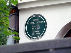 Photo of John Adams-Acton green plaque