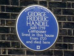 Photo of George Frideric Handel blue plaque